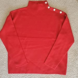 Tahari red sweater with jewel buttons
